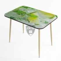 Стол стеклянный фотопечать Лайм с бежевой опорой