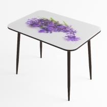 Стол стеклянный фотопечать Лаванда с черной опорой