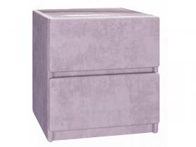 Тумба прикроватная с мягкой обивкой со стеклом Бискотти ИП 001.29 велюр розовый