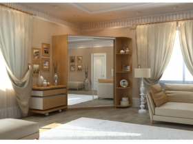Угловой шкаф-купе Анна миланский орех с двумя зеркалами